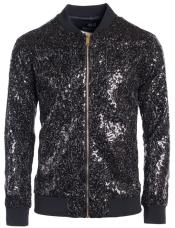 Mens Sequin Big and Tall Bomber Jacket Black