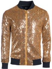 Mens Sequin Big and Tall Bomber Jacket Gold