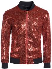 Mens Sequin Big and Tall Bomber Jacket Red