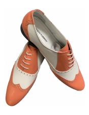 ~ Coral ~ Salmon Two Toned Dress Wing Tip Shoe