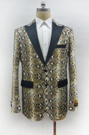 Mens Two Button Peak Lapel Snake Skin Prom Blazer