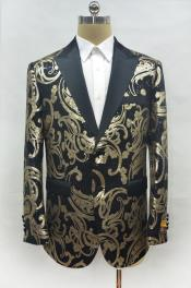 Shiny Sequin Gold and Black Paisley Blazer Dinner Jacket Perfect Wedding or