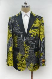 Fashion Yellow ~ Gold and Black Paisley Blazer Dinner Jacket Perfect Wedding or Prom