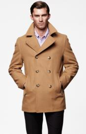 ~ Camel ~ Khaki Mens Peacoat Wool Fabric Double Breasted Style