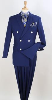 Double Breasted Notch Lapel Suit Royal Blue