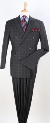 Double Breasted Notch Lapel Suit Gray