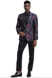 Fit Prom ~ Wedding Tuxedo Suit (Jacket & Pants) + Matching bow tie  ~ Floral Pattern