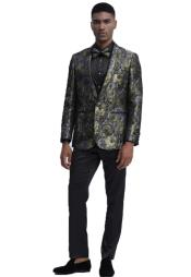 Fit Prom Outfit~ Wedding Tuxedo Suit (Jacket & Pants) + Matching bow tie  ~ Floral Pattern