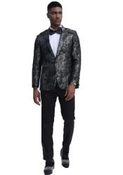 Black and Silver Slim Fit Prom Outfit  Wedding Tuxedo