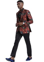 Blue and Red Floral Pattern Shawl Lapel Suit for Men
