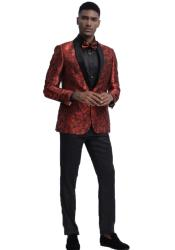 Red Floral Pattern One Chest Pocket Shawl Lapel Suit
