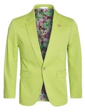 Cotton Stretch Slim Fit Blazer Apple