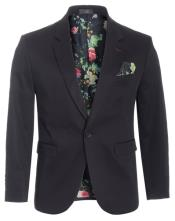 Cotton Stretch Slim Fit Blazer Black