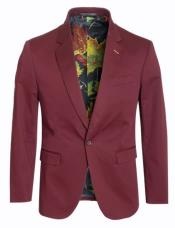 Cotton Stretch Slim Fit Blazer Burgundy
