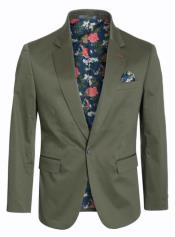 Cotton Stretch Slim Fit Blazer Olive