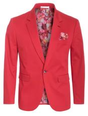 Cotton Stretch Slim Fit Blazer Red