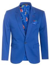 Cotton Stretch Slim Fit Blazer Royal