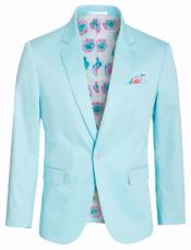 Cotton Stretch Slim Fit Blazer Turquoise