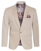 Cotton Stretch Slim Fit Blazer Khaki