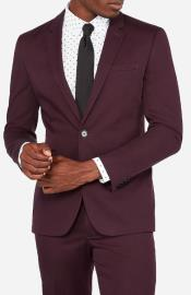 Burgundy Two Flap Front Pockets Notch Lapel Outfit New Trendy