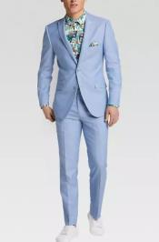 Light Blue Shawl Lapel One Chest Pocket Homecoming Outfit For Guys