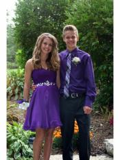 New Trendy High school Boys Homecoming Long Sleeve Purple Outfit