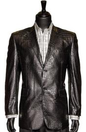 Zacchi Black Vegan Faux Leather Croc Pattern 2 Button Casual Blazer