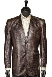 Chocolate Brown Vegan Faux Leather Croc Pattern 2 Button Casual Blazer