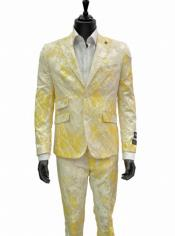 Blue Martini Cream Gold Paisley Pattern Peak Lapel 2 Button Slim 2Pc