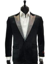 Velvet Dress Dinner Jacket With Crystals Sequin Lapel Blazer In Black