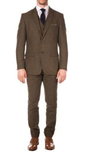 Mens Cognac Peaky Blinders Fashion Clothing Suit