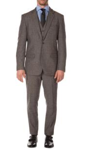 Tweed 3 Piece Suit - Tweed Wedding Suit Mens Grey Peaky Blinders