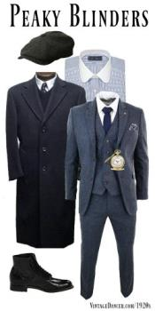 Mens Gray Three Button Two Flap Front Pockets 3 Piece Peaky Blinders