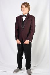 Mens Burgundy Solid Pattern Suit and Pants And Vest