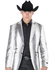 Silver Ticket Pocket Two Button Western Blazer