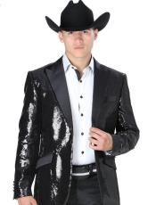 Sequin Black Peak Lapel Western Blazer