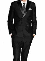 Slim Fit Double Breasted Wool Tuxedo by Alberto Nardoni 4 Buttons Style
