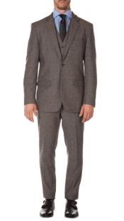 Tweed 3 Piece Suit - Tweed Wedding Suit Mens Grey Matching Super