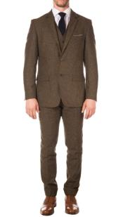 Tweed 3 Piece Suit - Tweed Wedding Suit Mens Cognac One Chest