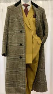 Black and Grey Plaid Checkered Chesterfield Overcoat Top Coat Full Length