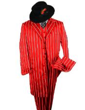 SHIMMERY GANGSTER Black And Bold Pronounce Red ~ White Pinstripe Fashion