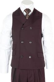 Mens Burgundy Casual Double Breasted Wool Fabric Suit