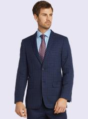 Silk & Wool Fabric Men's Suit-Blue Check