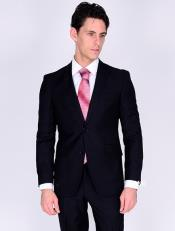 Bertolini Silk & Wool Fabric Men's Suit-Black- High End Suits - High