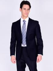 Bertolini Silk & Wool Fabric Men's Suit-Navy- High End Suits - High