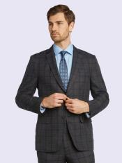 Silk & Wool Fabric Men's Suit-Gray Windowpane- High End Suits -