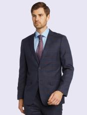 Silk & Wool Fabric Men's Suit-Blue Plaid- High End Suits -