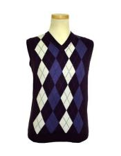 Microfiber V-Neck Sweater Vest In Purple / White / Lavender