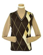 And Tall Sweater Pronti Microfiber V-Neck Sweater set Vest In Chocolate