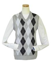 Microfiber V-Neck Sweater Vest In Silver / White / Charcoal Grey